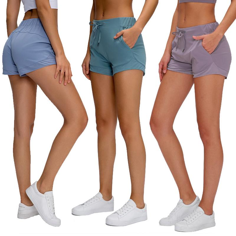 Быстросохнущие шорты для йоги с высокой эластичной талией Шорты для бега женский пилатес спорт спортивная одежда сплошной цвет тренажерный зал дружественный к коже обнаженный женский твердый