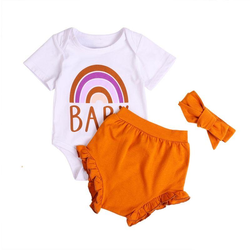 Newborn Kids Baby Girls Clothes Set Outfits Girl Costume Children Clothing Romper Tops Short Pants 3PCS Summer Set