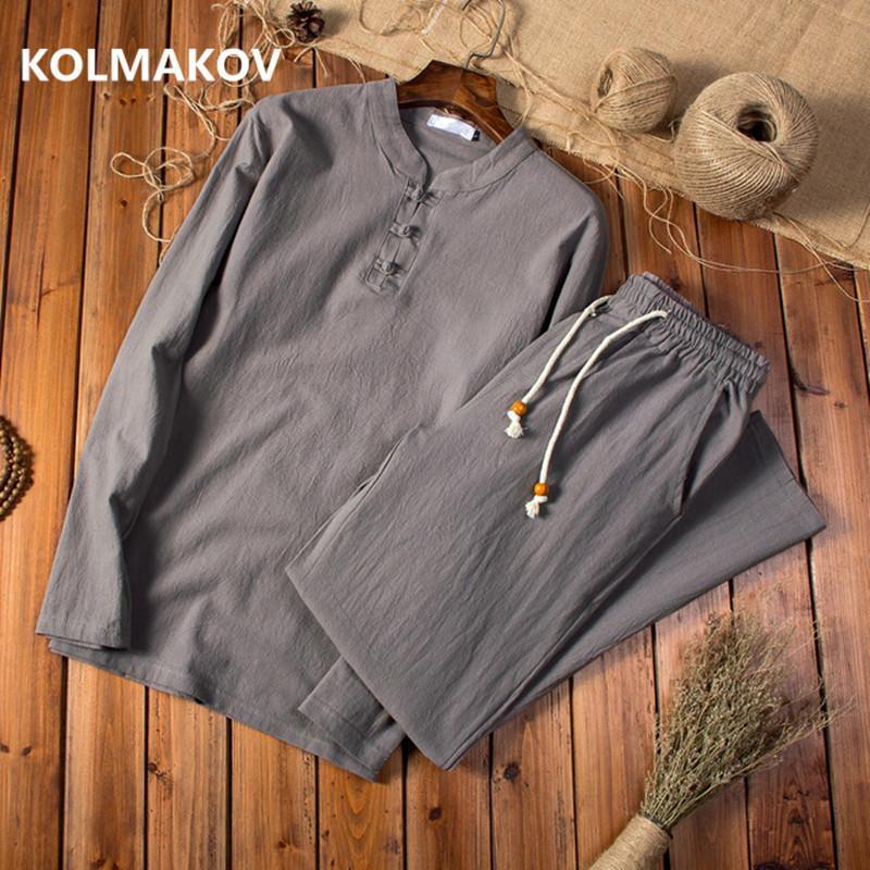 (camisa + calças) 2019 Primavera alta camisa de homens de qualidade Homem de algodão e camisas de linho mangas compridas casuais moda camisas homens masculina
