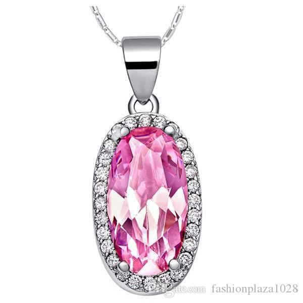 Luckyshine Party Jewelry Oval Vintage Pink Topaz Gems Silver For Women Zircon Elegant Wedding Necklace Pendants NEW Free Shipping