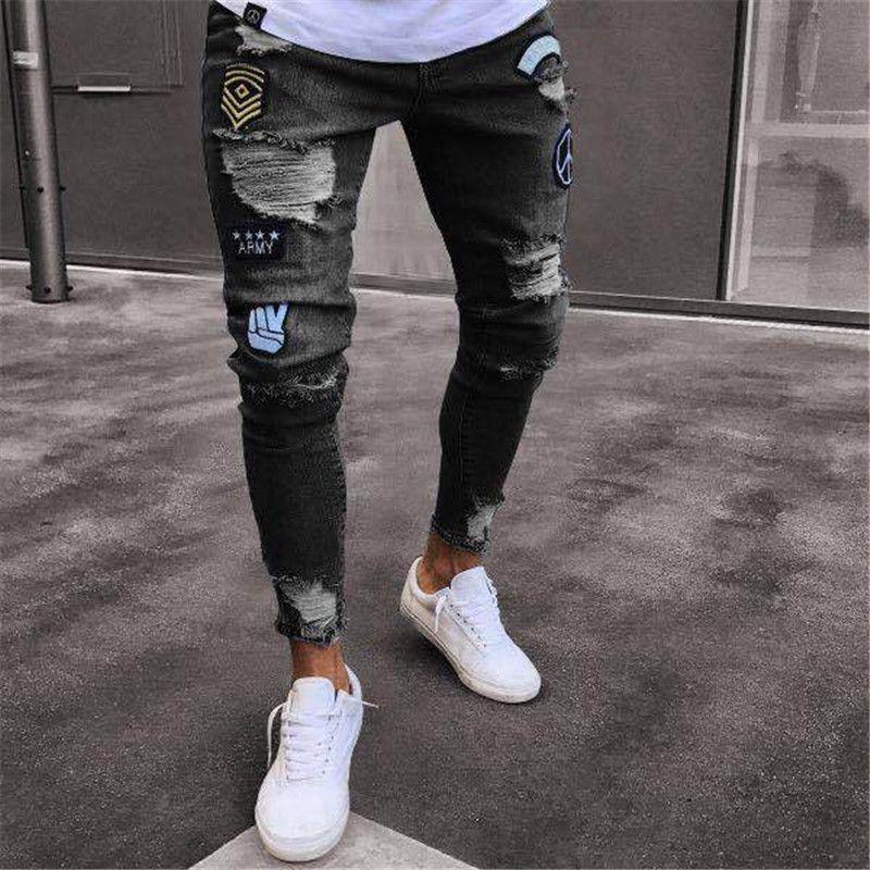 Compre 2018 Nuevo Disenador De Marca Slim Fit Pantalones Rotos Para Hombres Hi Street Para Hombre Jeans Vaqueros Desgastados Agujeros De Rodilla Jeans Destruidos Lavados A 17 35 Del Homedress Dhgate Com