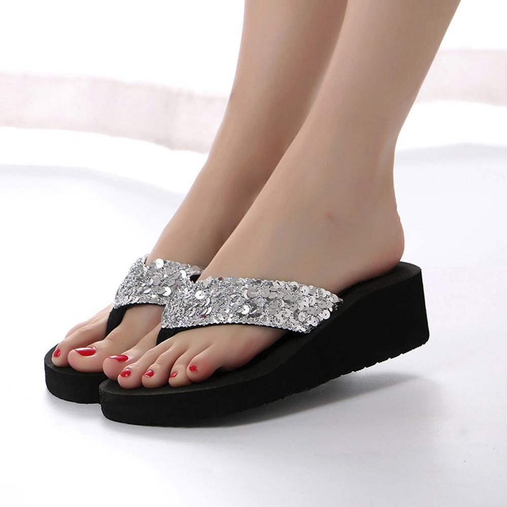 Sandalias Strpy brillantes plataforma gruesa Sanldals sandalias antideslizantes zapatillas zapatos de interior para mujer verano lentejuelas chanclas al aire libre