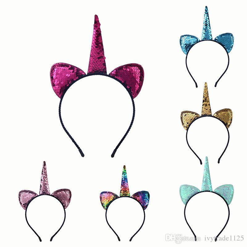 Kedi Kulak hairband ile INS Sevimli 6 renk Unicorn Saç sopalarla kız madeni pul Unicorn Unicorn Parti Cosplay için Saç Aksesuarı birthdaykids