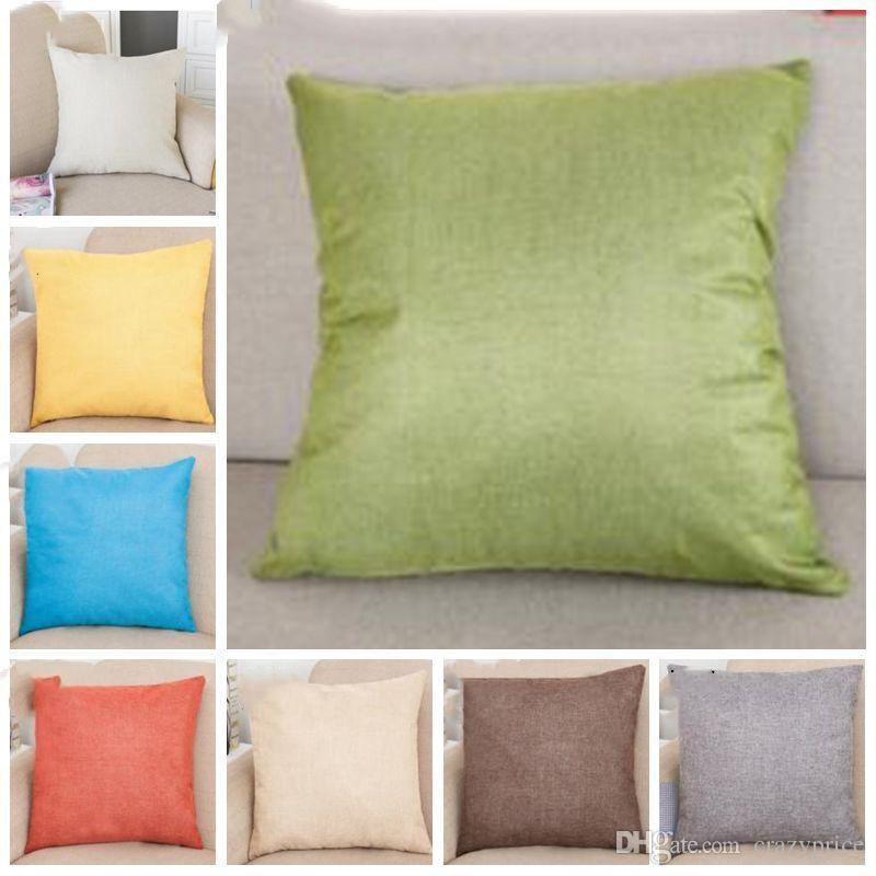 Federa Solido Cotone Colore Lino Piazza design tiro della cassa del cuscino della copertura della cassa del cuscino decorazione di Natale in bianco Decor regalo YSY216-L