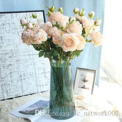 3 kafaları yapay çiçekler üreticileri ipek çiçeği batı gül ev dekorasyon düğün duvar sahte çiçekleri şakayık