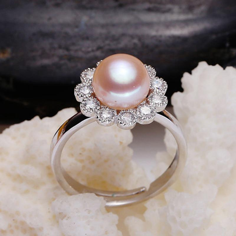 ASHIQI S925 Sterling Silver Ring Flower Shape OL Accessories 7-8mm Natural Freshwater pearl Fine Jewelry For Women Open Finger
