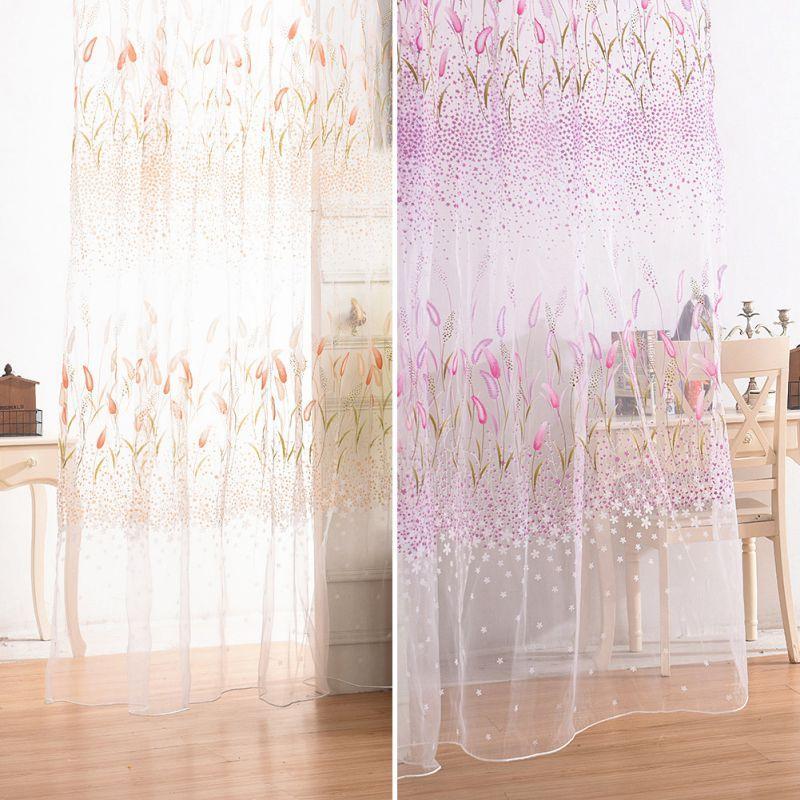 1 Unids / lote Ventana Cortina Tela Floral Transparente Burnout Sheer Living Screening Tulle Cortinas Para Sala de Estar New2