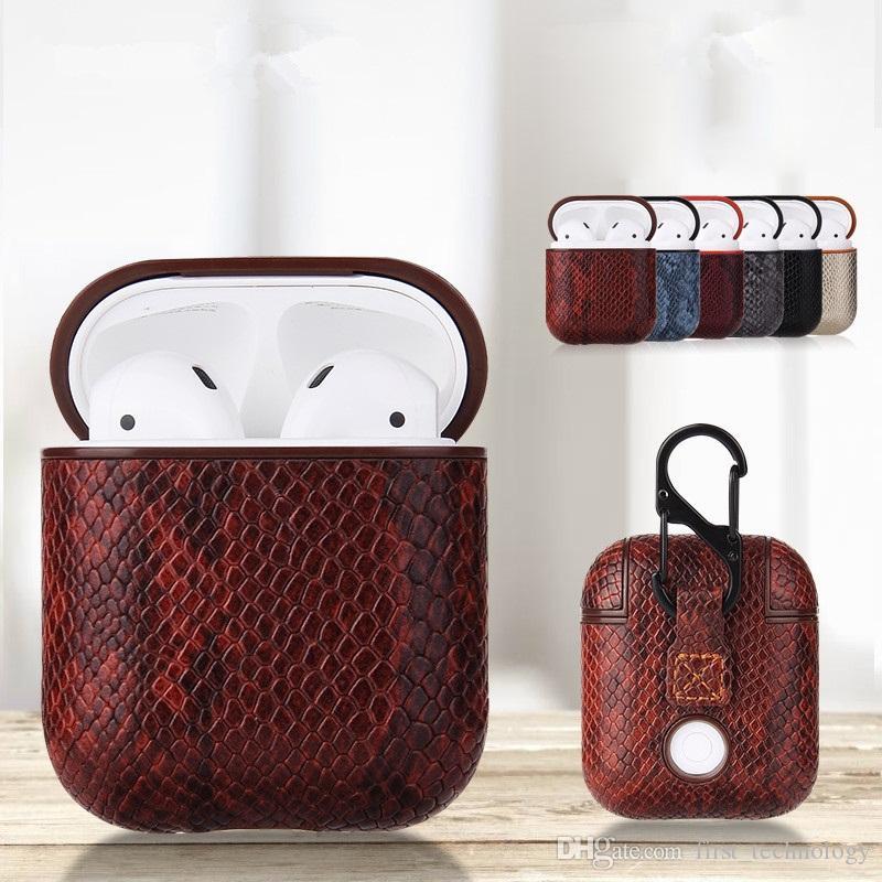 Новый сексуальный змеиной кожи сумка для Apple AirPods Bluetooth Беспроводные наушники кожаный чехол для воздуха Бобы Funda крышки короб футляры (Lot)