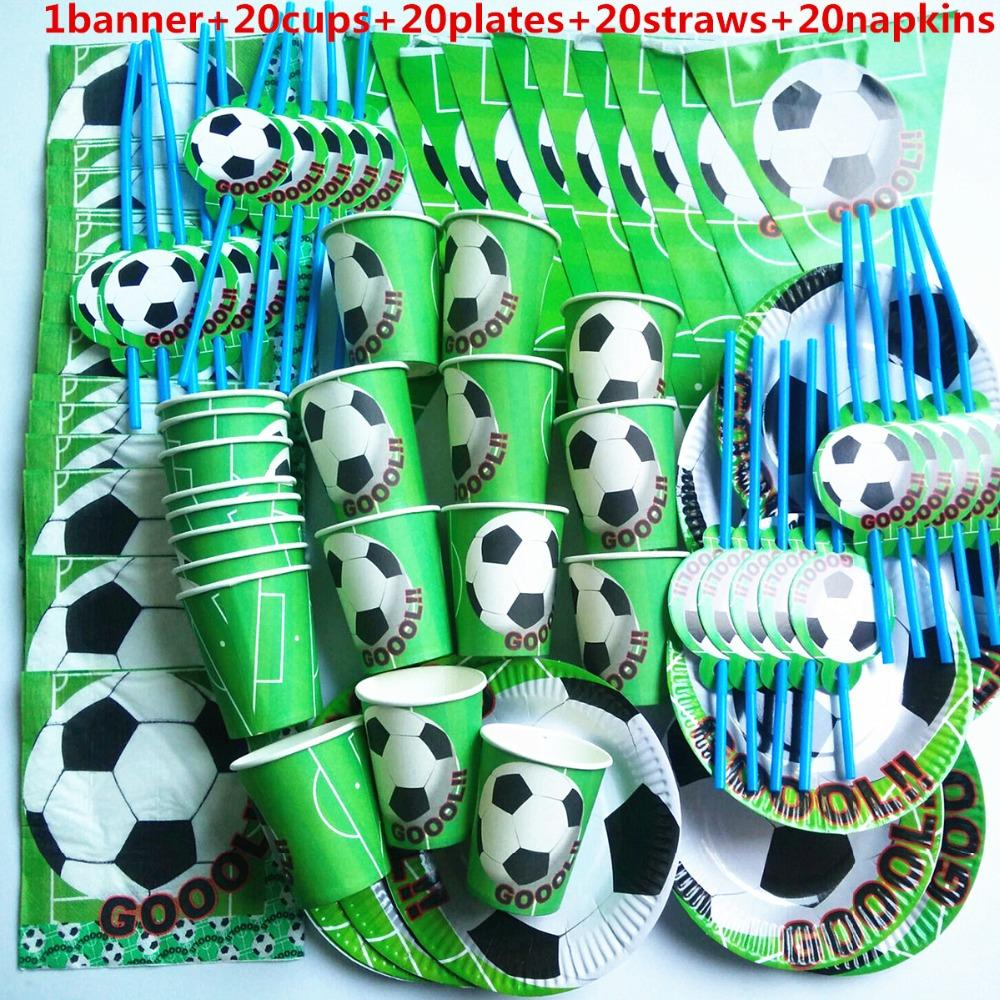 81 Stücke Fußball Baby Boy Cup Platte Stroh Serviette Banner Happy Birthday Kinder Baby Shower Papier Party Dekoration Set Thema liefert