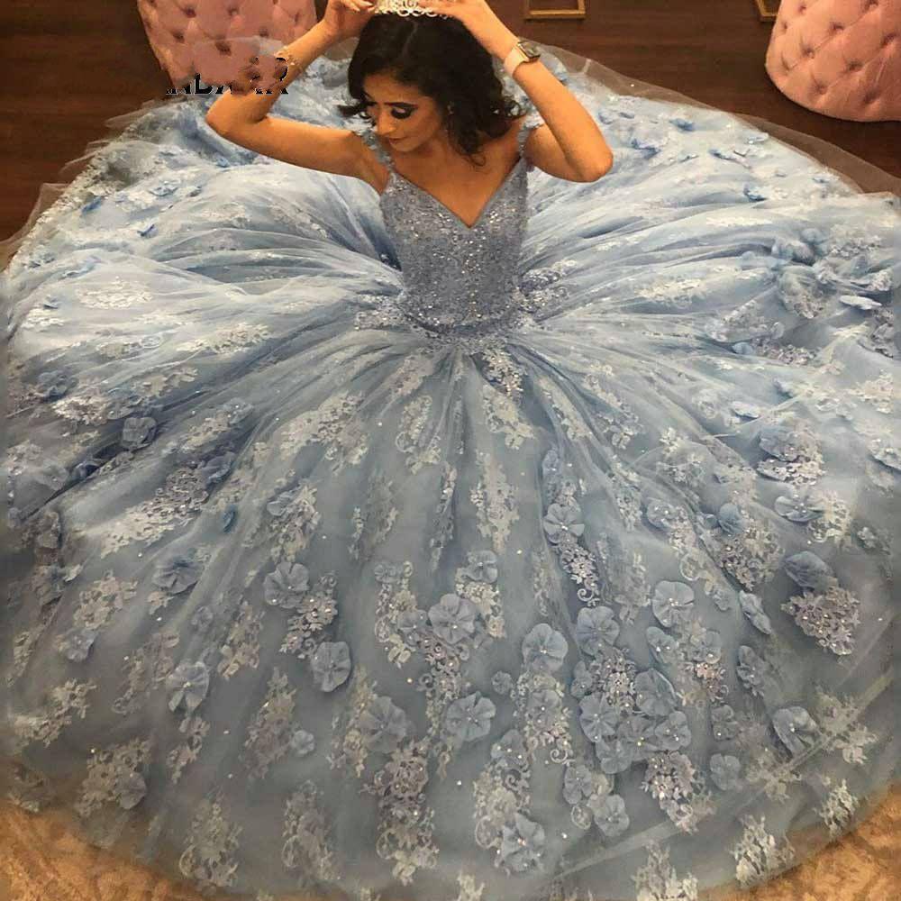Neue Ankunfts-Ballkleid Quinceanera Kleider 2020 Schatz-wulstig Blumeapplique Open Back-Festzug-Kleid-lange Kleid der Bonbon-16