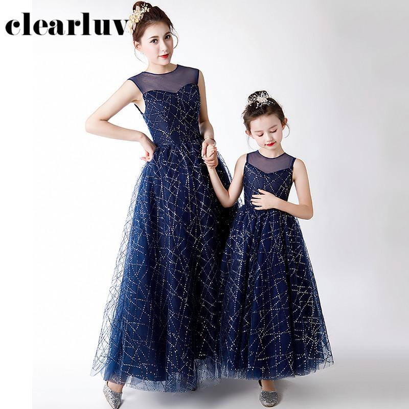 Parent-child Wear DB106 A-Line Navy Blue Evening Dress Shiny Sequin Formal Party Gown O-Neck Sleeveless Mom And Daughter Dresses