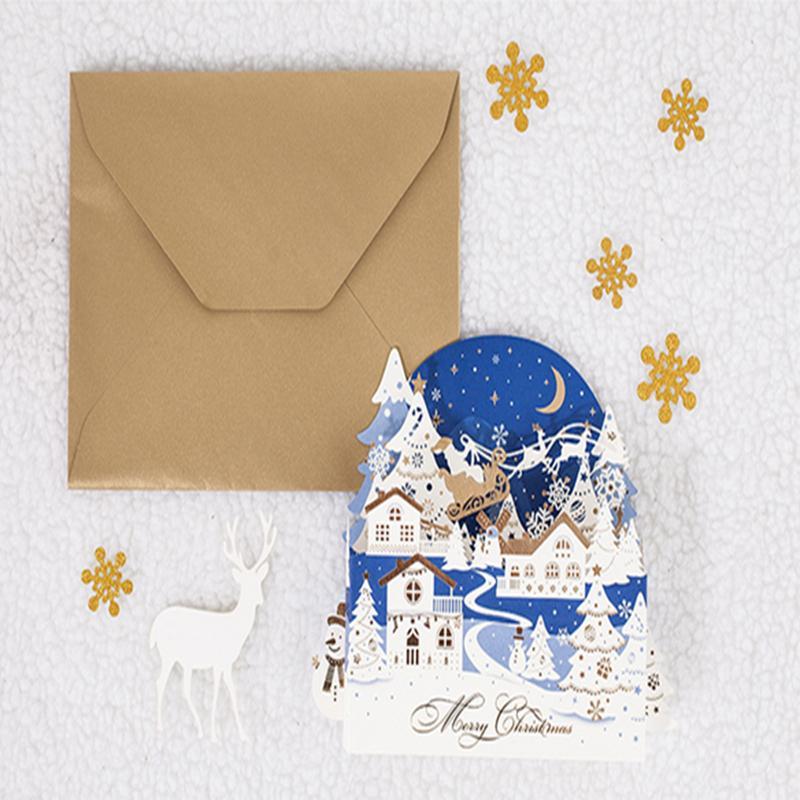 창조적 인 입체 비어 - 아웃 크리스마스 카드 휴일 인사말 빈 인사말 카드 기념품 엽서는 h의 온기를 전합니다