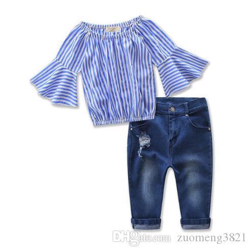 T-shirt allentata da completo per bambini e capispalla in jeans + pantaloni jeans denim Pantaloni estivi per bambina