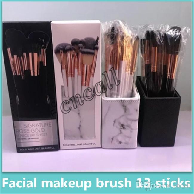 Hot sale marble pattern makeup brush storage rack creative cosmetics storage box 13 makeup brush set