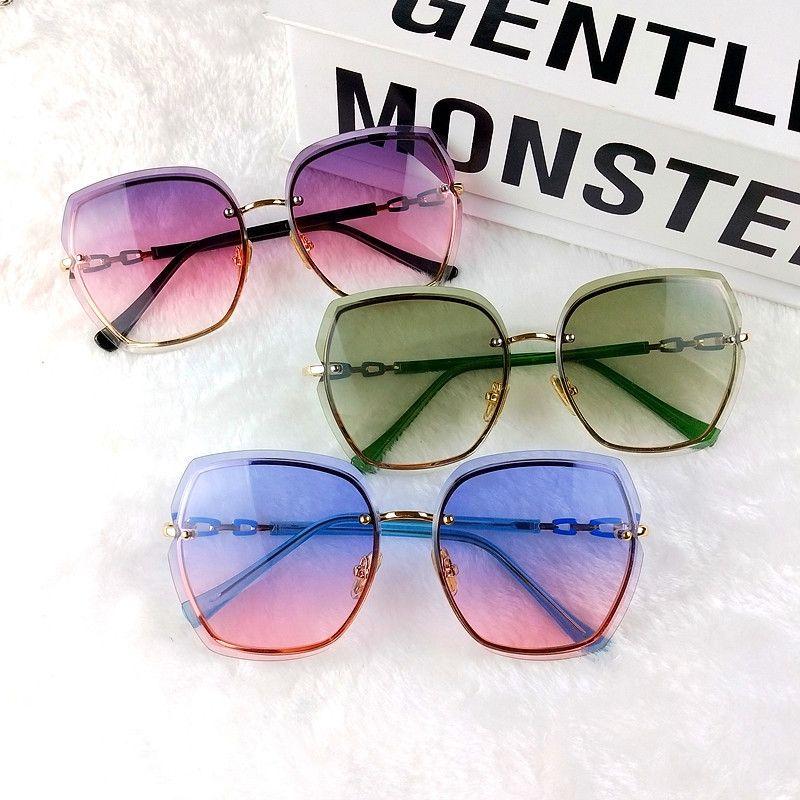 Солнцезащитные очки без оправы женщина обрезка цвет красный алмаз чистая корейская мода очки большая рамка солнцезащитные очки приток европейских и американских диких