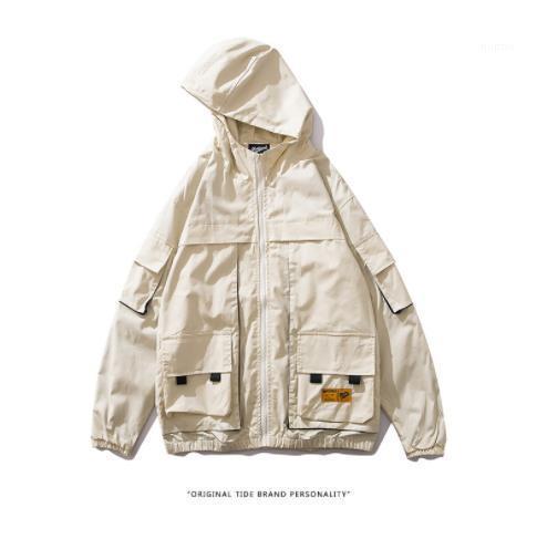 Homme Vêtements Solide Couleur Pocket Casual Vêtements Hommes Automne Designer Vestes capuche manches longues Worker style