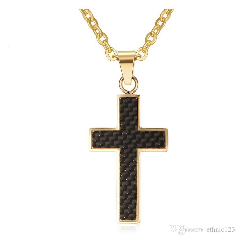 Gold Color Fashion Men's Cross Carbon Fiber Pendant Necklace Stainless Steel Link Chain Necklace Jewelry Gift for Boys Men J383