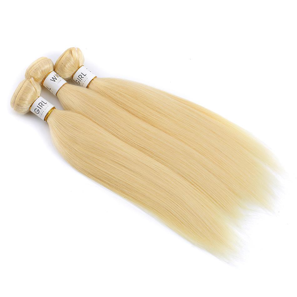 الشعر البرازيلي مستقيم شقراء الشعر حزم نسج 3 PC شقراء كاملة 613 اللون ريمي 100٪ ملحقات الشعر الإنسان 8-30 بوصة