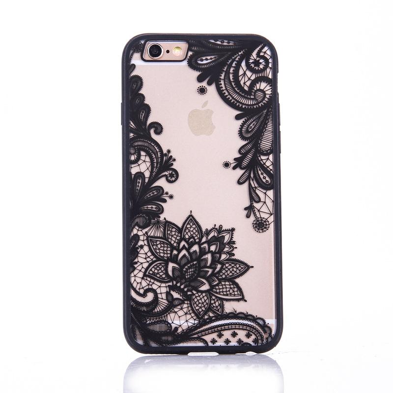 Luxury Lace Floral Retro Mandala Flower Clear Transparent Silicone Rubber Soft TPU Phone Back Case Cover For iphone 6S 7 8 Plus X XR XS MAX