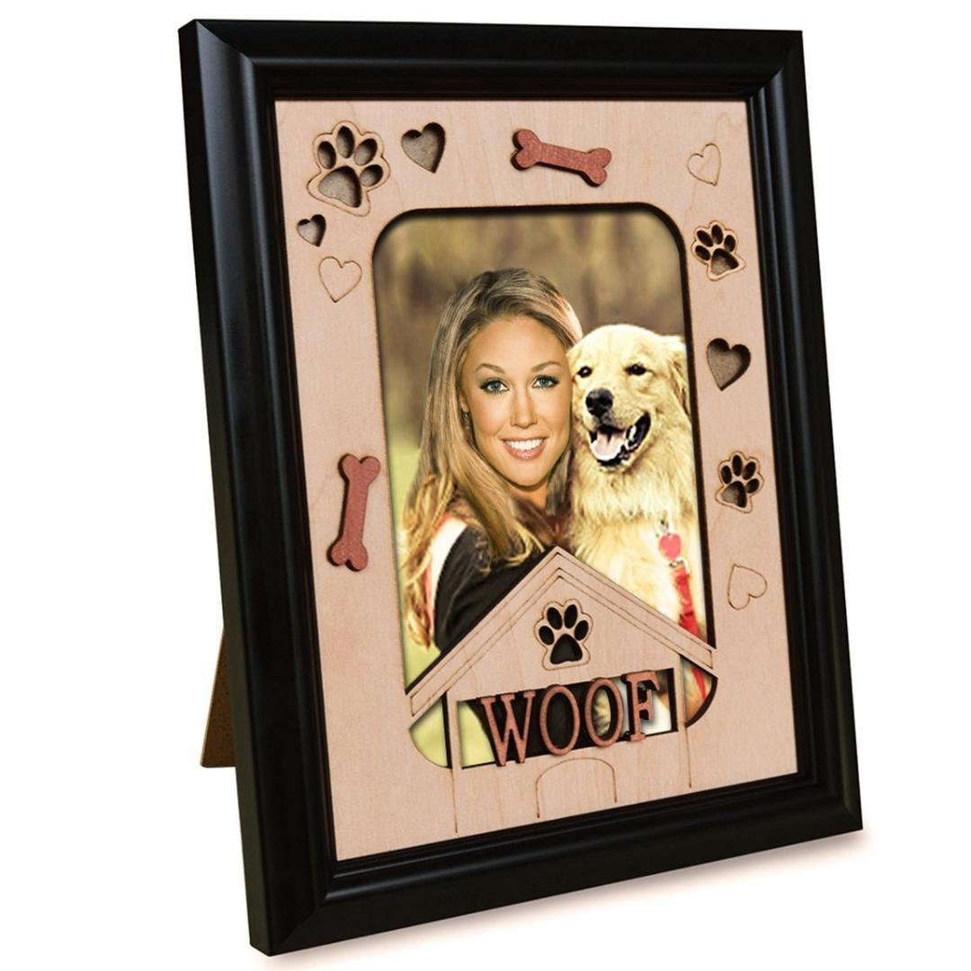 Giftgarden Pet Picture Frames Cão Memorial WOOF Photo Frame Temático 4x6 Wall and Tablet Display