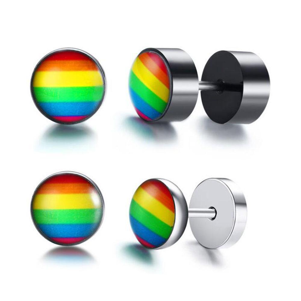 Personalizzata Mens ipoallergenico LGBTQ arcobaleno Gay Pride Lesbiche in acciaio inox Bilanciere orecchini della vite prigioniera per le donne all'ingrosso