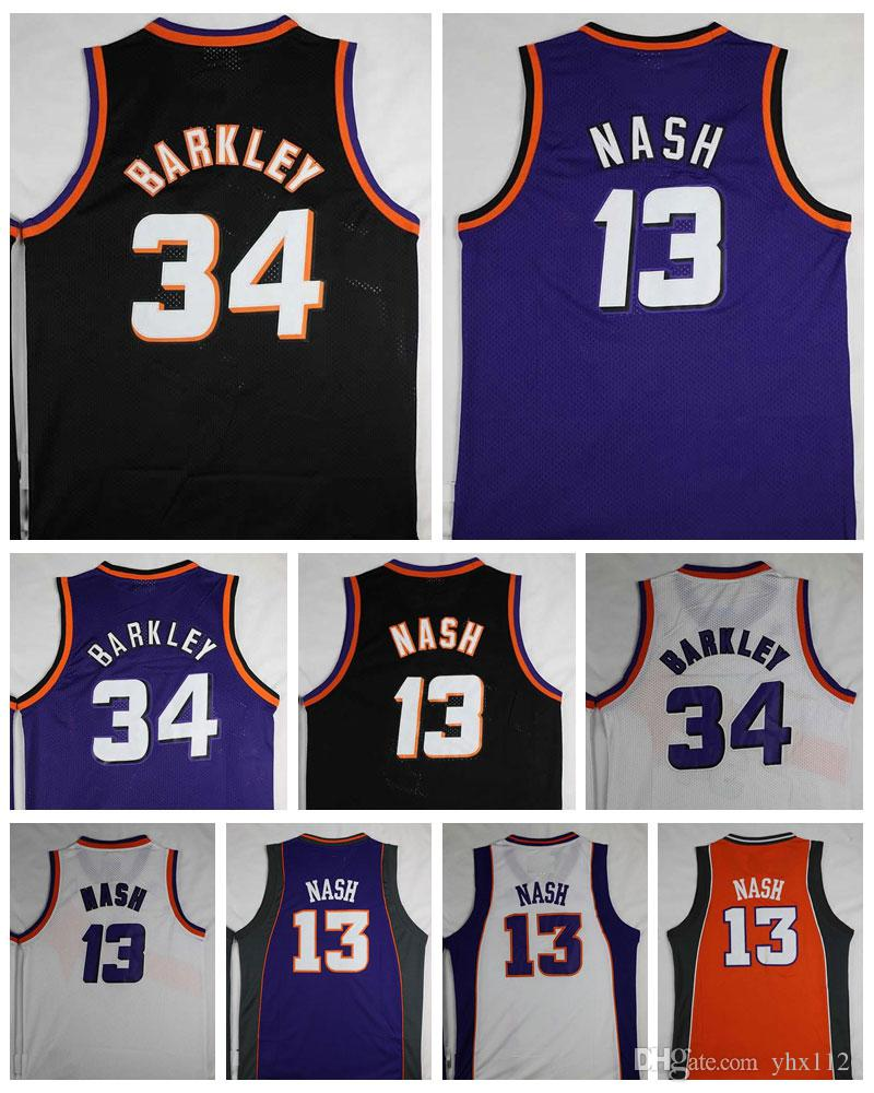 Good Quality #34 Charles Barkley Jersey Cheap #13 Steve Nash Jerseys Vintage Purple Black White Shirts Stitched Man Size S-XXL
