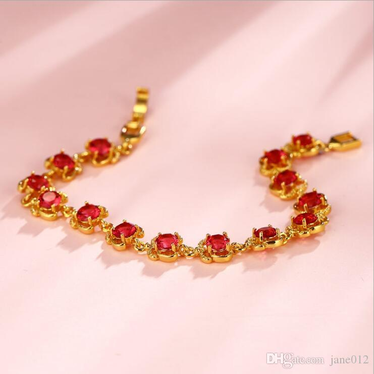 Elegant Gold Plated Red Synthetic Gemstone Emerald Green Bracelets Chains 18cm Simple Designs Golden Hand Jewelry Wholesale