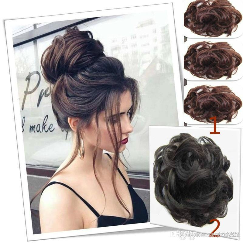 Hair Bun Hairpiece Dark Brown Messy Bun Hair Women S Wavy Curly Updo Scrunchie Wig Cap Katy Perry Wig Hair Lace From Szq654321 1 51 Dhgate Com