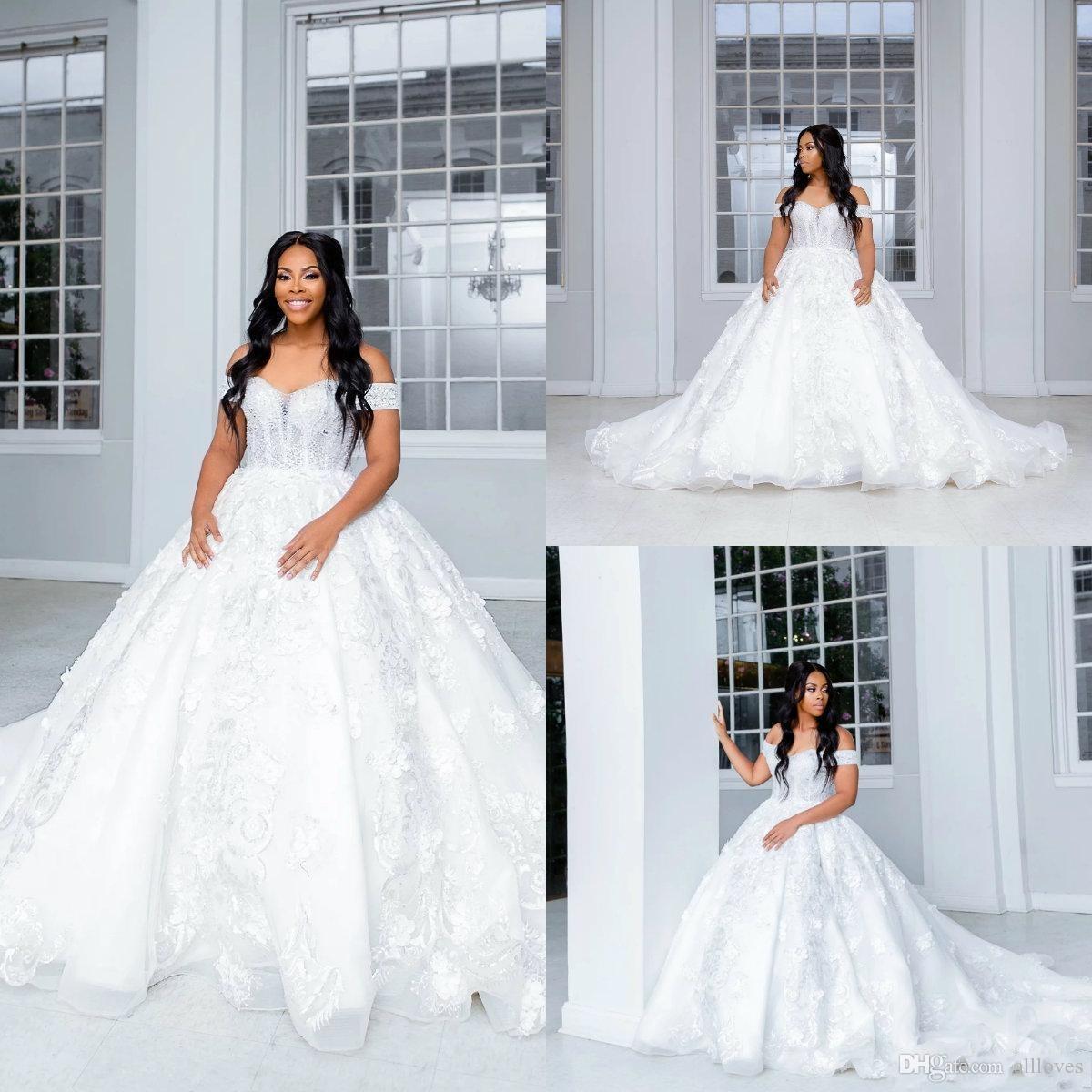2020 Taille Taille Robe de mariée Africaine Robe De Mariée Sexy Off Off Off Of Floral Appliques Bridal Robe Jour Train Vestidos de Novia AL5704