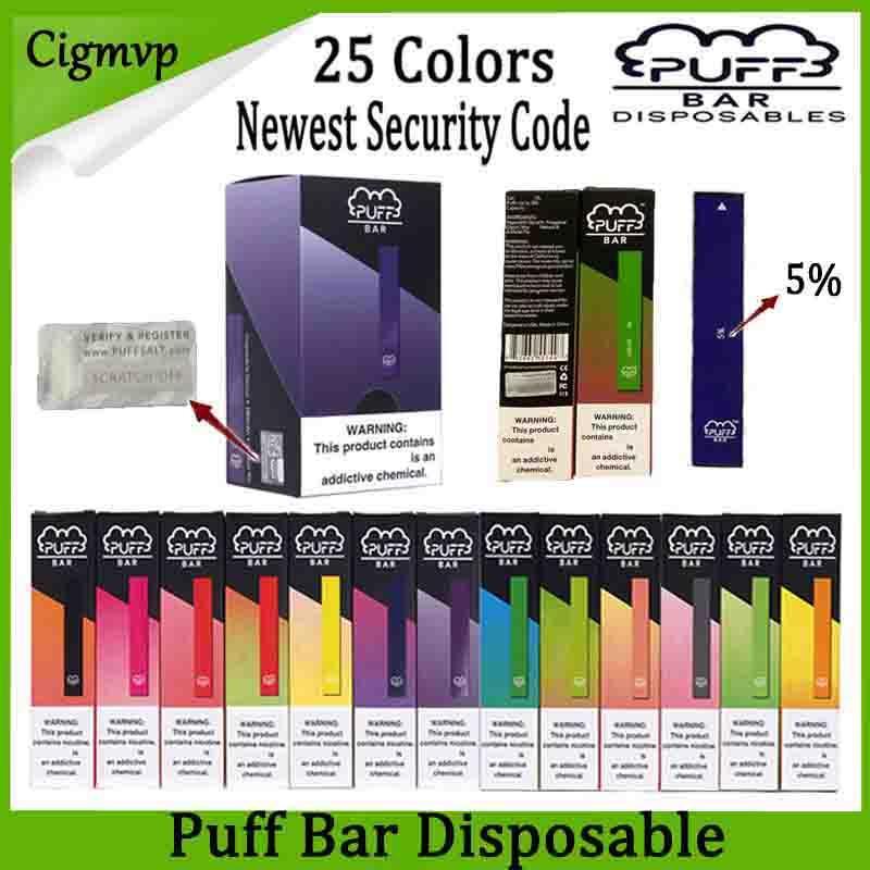 퍼프 바 일회용 장치 포드 E 담배 스타터 키트 280mAh 배터리 1.3ml 카트리지 Vape 빈 펜 보안 코드 빠른 배