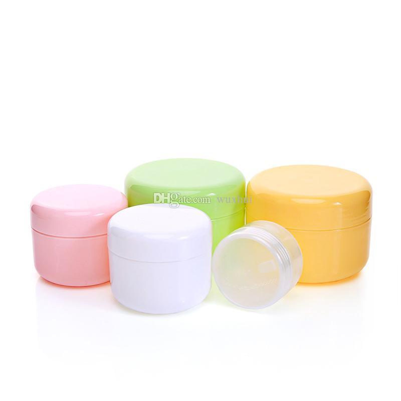 100Pcs 10g/20g/50g Plastic Empty Makeup Jar Pot Refillable Sample bottles Travel Face Cream Lotion Cosmetic Container