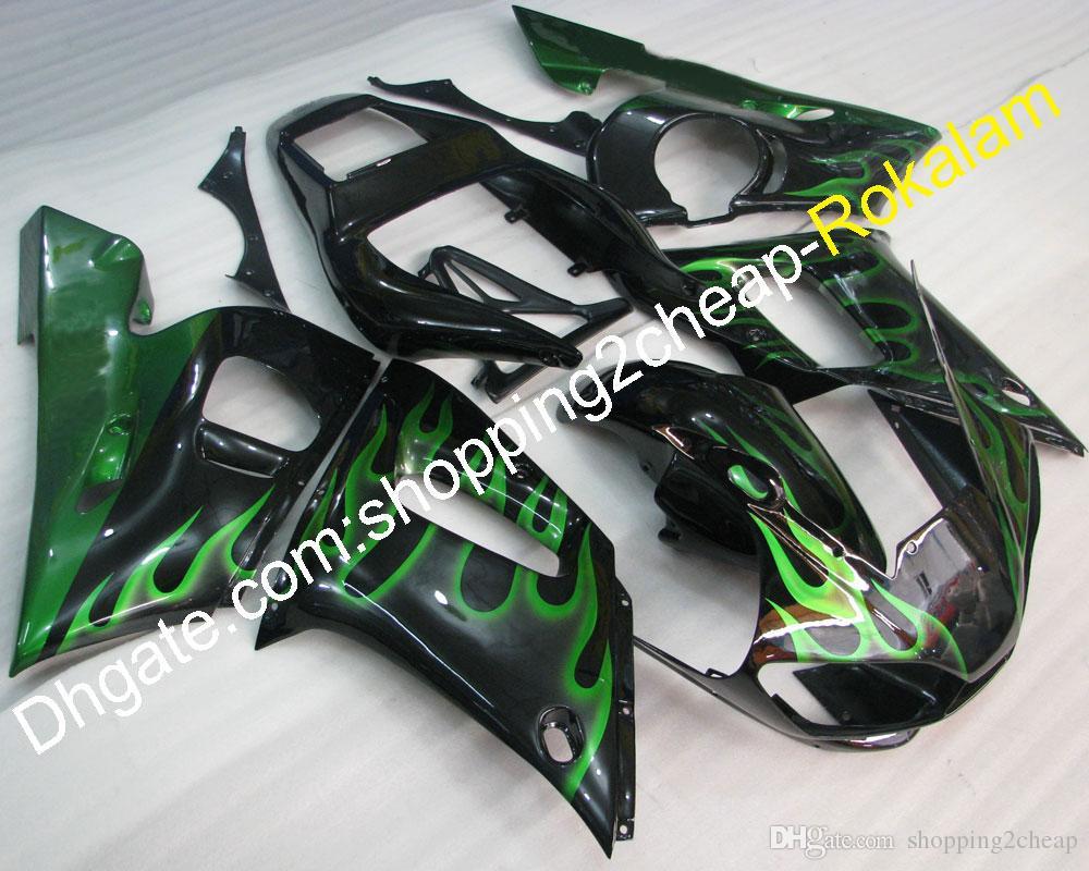 Cowlings de motocicletas para Yamaha YZF R6 1998 1999 2000 2001 2002 YZFR6 YZF-R6 Green Flames Kit de justo de carroçaria preto (moldagem por injeção)