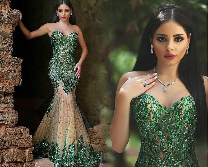 Hot Sale Green Women Plus Size Evening Dresses Illusion Neck Sequined Beading Mermaid Sleeveless 2020 Cheap Plus Size Formal Wear Prom Dress
