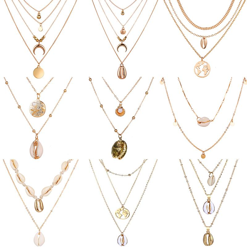 Women/'s Trendy Multilayer Gold Silver Heart Pendant Choker Necklace Jewellery UK