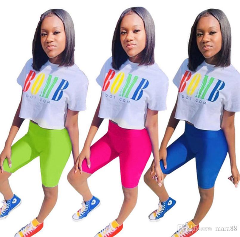 Kadınlar casual eşofman mektup 2 parça set kısa kollu mahsul en bodycon mini şort tasarımcı yaz giyim spor koşu takım elbise 1015