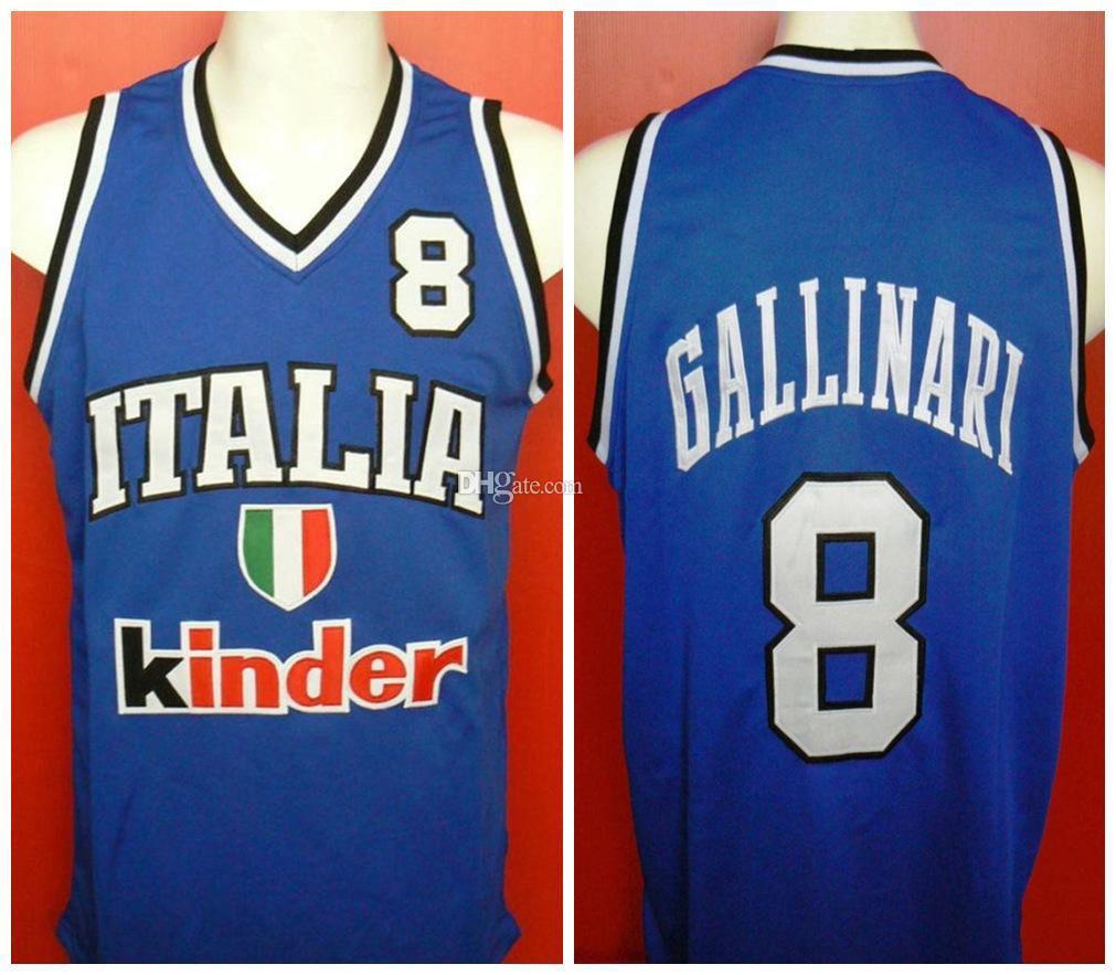 Danilo Gallinari # 8 Team Italia Baloncesto Italia Italiano Jersey retro para hombre cosido encargo cualquier Número Nombre jerseys