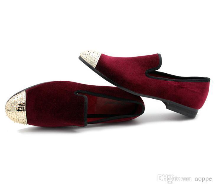 Yeni stil siyah ve mor kadife el yapımı moda loafer'lar parti gelinlik ayakkabı erkekler flats Masculino 554
