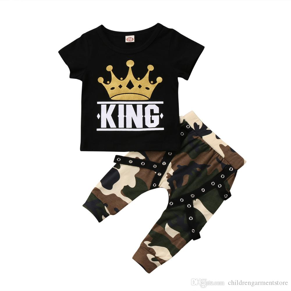 Infant Toddler Boy Summer Outfits Clothes 1-3 Years Old Short Sleeve Tie Print T-Shirt Tops Camouflage Shorts Set