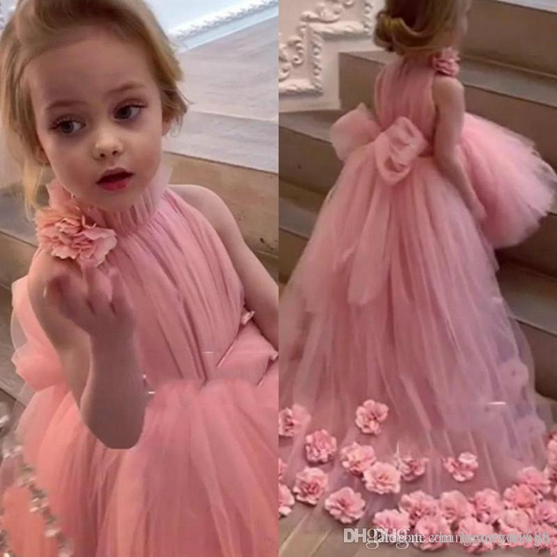 Florais Appliqued Floristas Pescoço Alto linda Bow Sash 3D vestidos com Trem da varredura Tulle mangas Kids Wear Formal