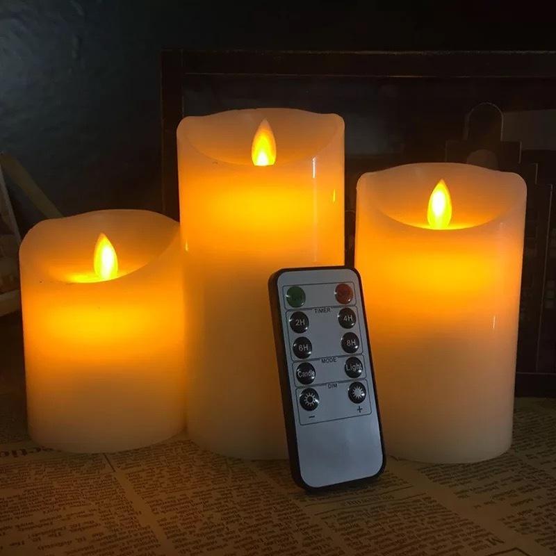 набор 3 Мерцания беспламенной Pillar LED свечи с дистанционным управлением таймером Перемещение Танцы фитиль плавится край Свадебного Xmas Party-янтарный Y200109