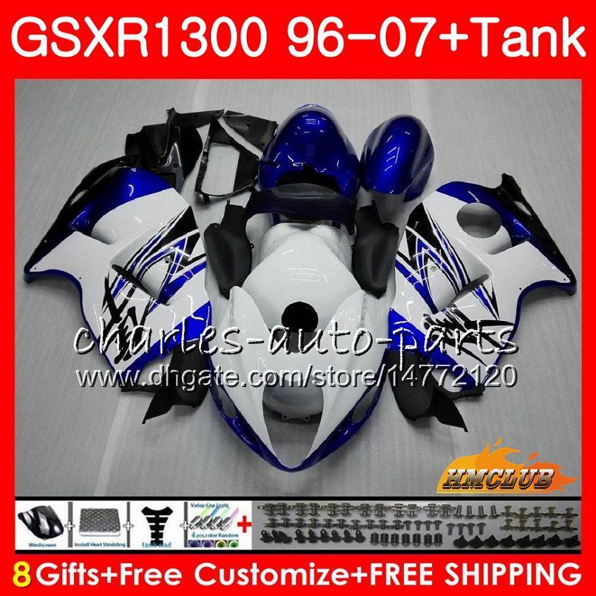Corpo per SUZUKI Hayabusa GSXR 1300 GSXR1300 96 02 03 04 blu bianco caldo 05 06 07 24HC.34 GSX R1300 2002 2003 1996 2004 2005 2006 2007 carenatura