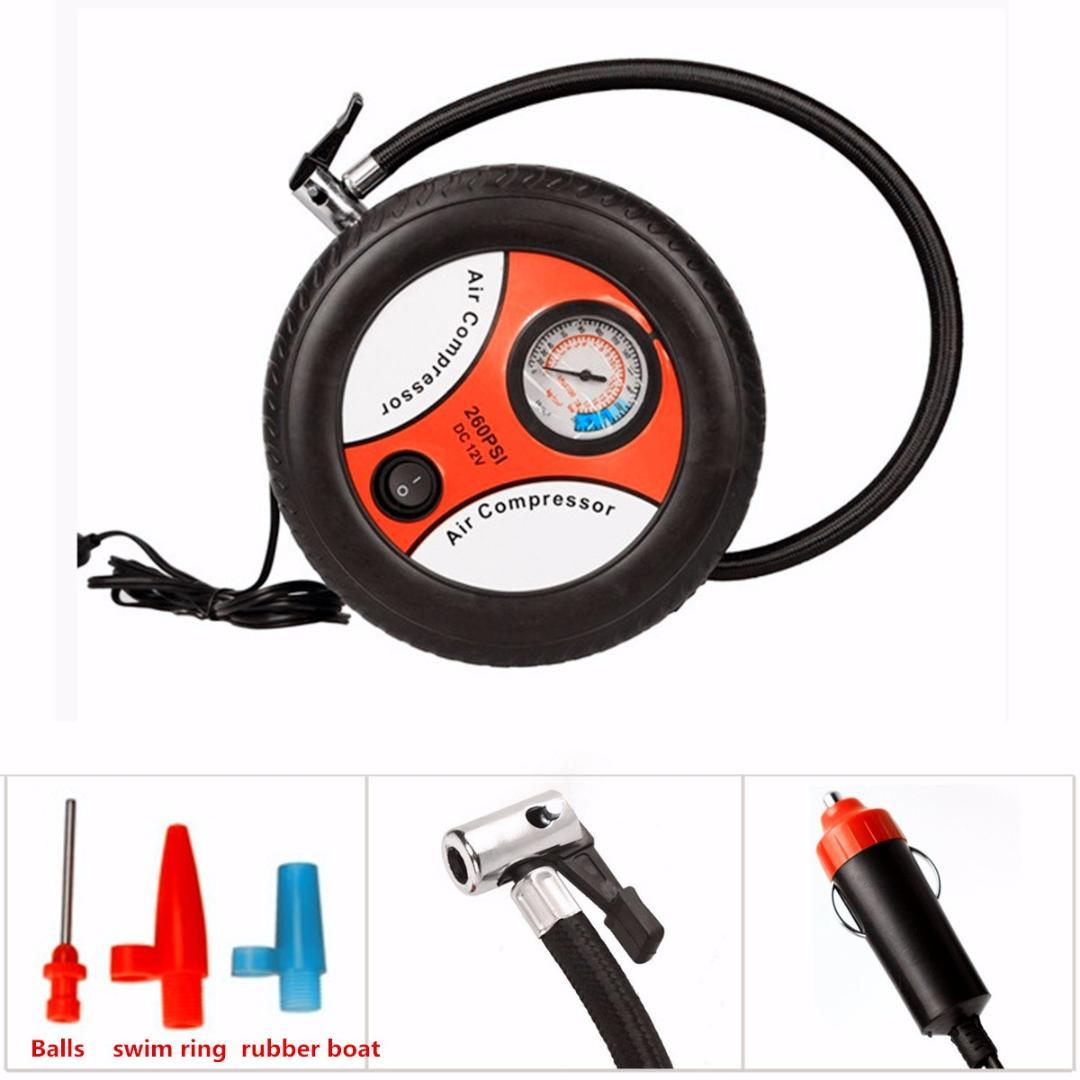 260PSI Portable Mini Car Inflatable Pump Air Compressor Tire Auto Tire Pump Electric Inflating Machine DC12V with Nozzle Adapter