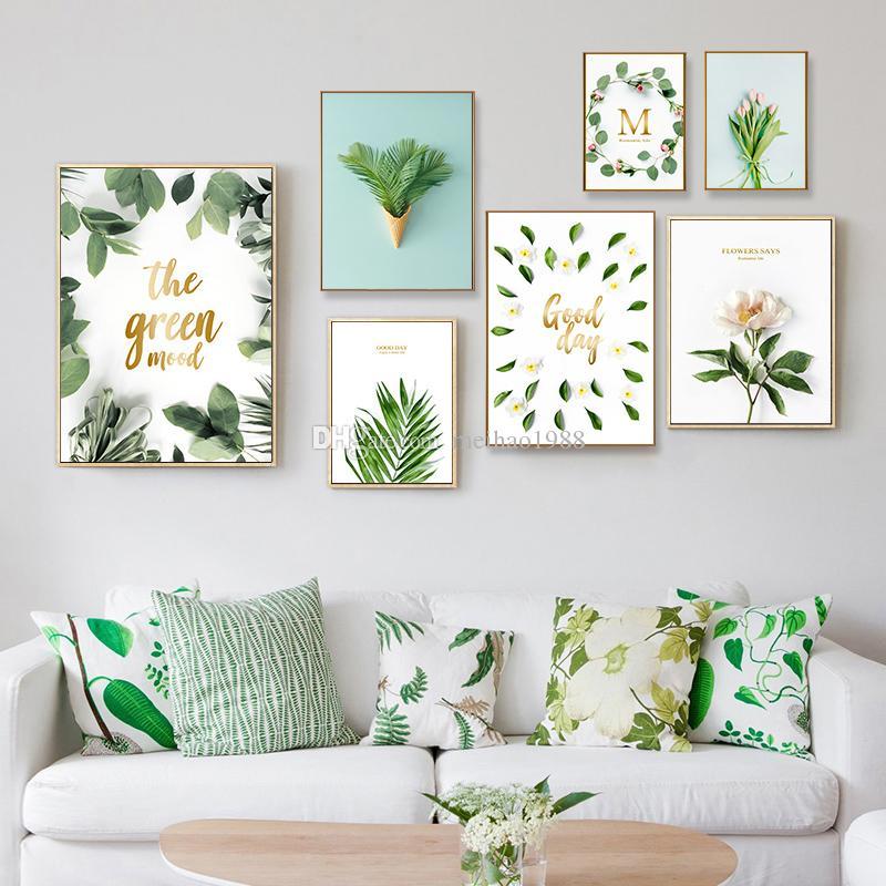 Moderne AquarellTropical Leaf Poster Leinwand Floral Green Plant Kunstdrucke Wohnzimmer Küche Wand Fotos Gemälde Wohnkultur Kein Rahmen 15