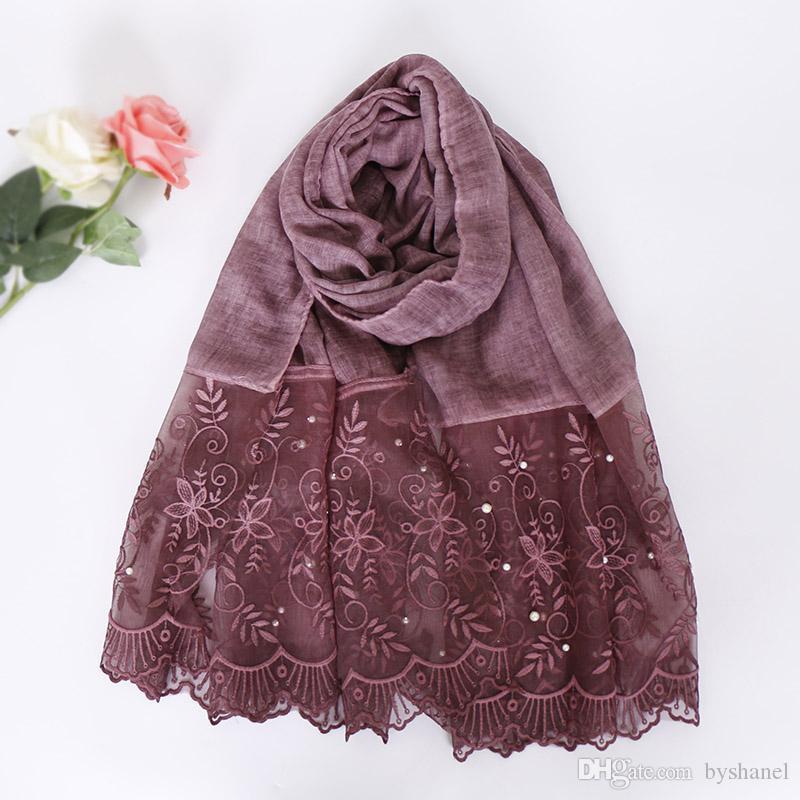 Donne di lusso floreale in rilievo del merletto sciarpa bandhnu cotone musulmano hijab sciarpe perla avvolge scialli fascia 180 * 90 cm 10 pz / lotto