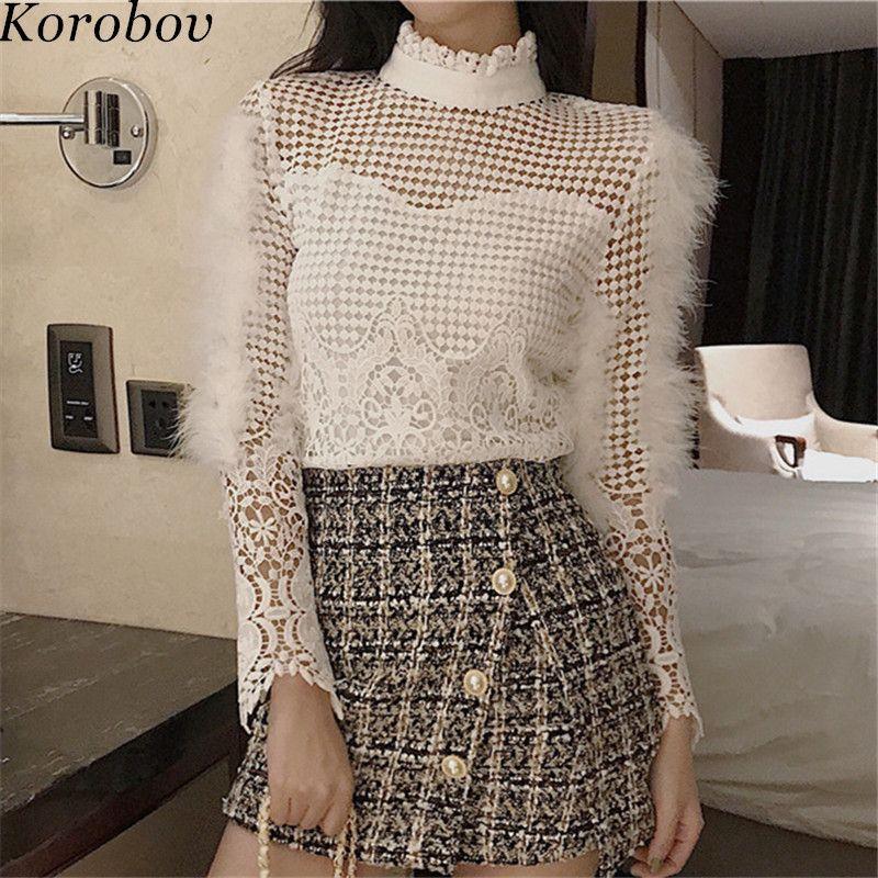 Korobov Dentelle Creuser Sur Les Femmes Blouse Vintage Stand Collor Chemises Coréenne Plume À Manches Longues Femelle Mince Blusas Tops 76647