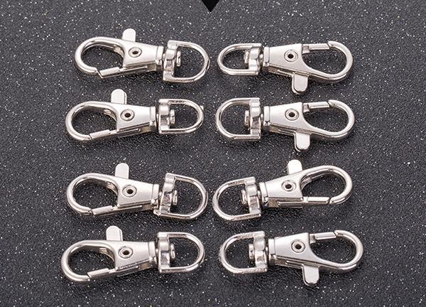 키 체인 선물에 대한 골동품 실버 랍스터 회전 버클 열쇠 고리 클립 4mm 보석 조사 결과 금속 분할 링 클립 후크 열쇠 고리 버클 걸쇠
