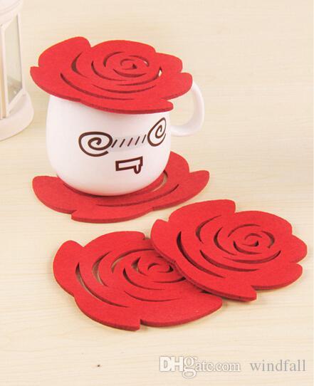 De manera simple agarraderas Rose manteles de ganchillo aislados Doilies Felt Posavasos Copa tapetes de mesa Mat Pad 45Pcs / lot