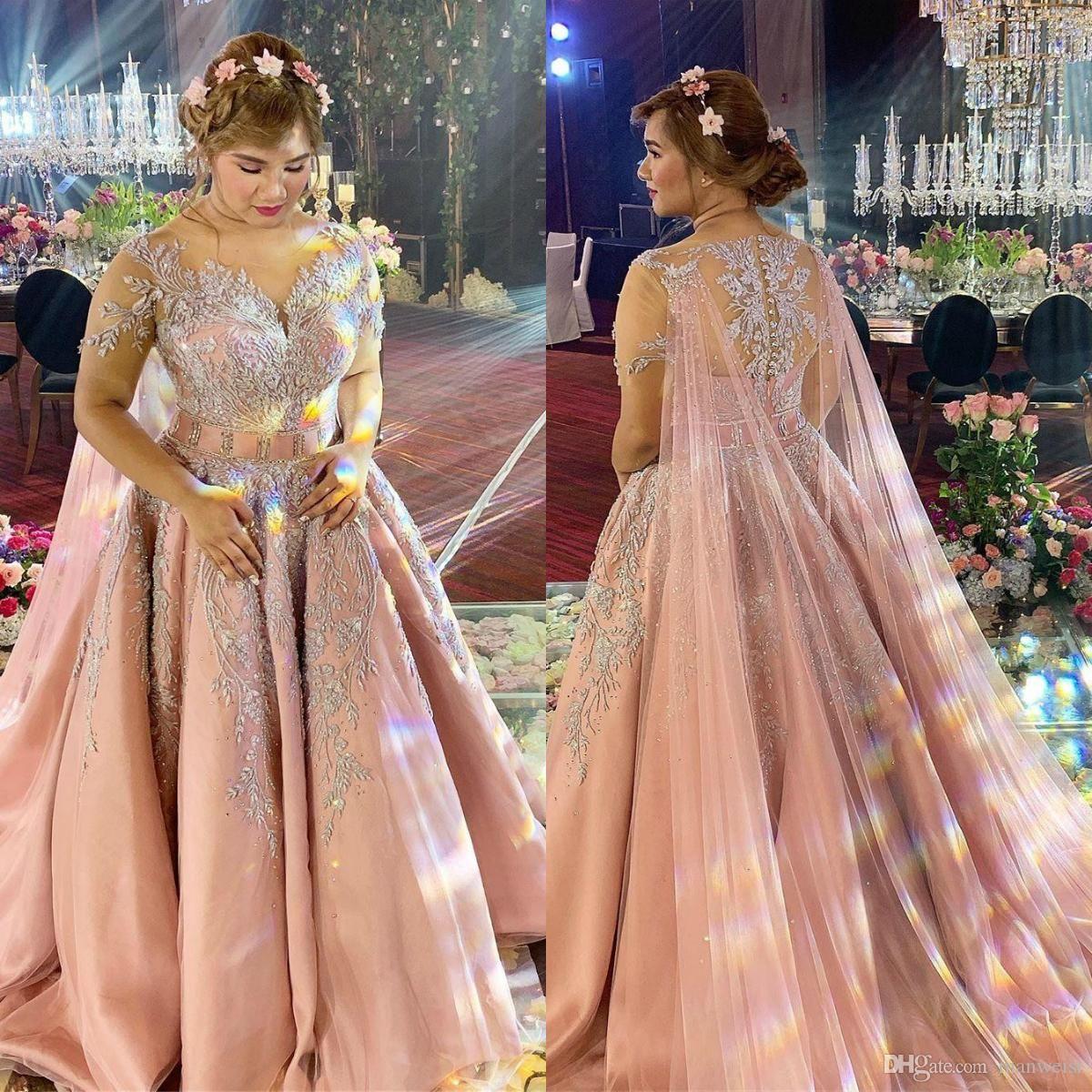 2020 manica corta arabo pizzo Prom Dresses Con Wrap Rosa di Applique in rilievo sera convenzionale Gowns robe de soiree