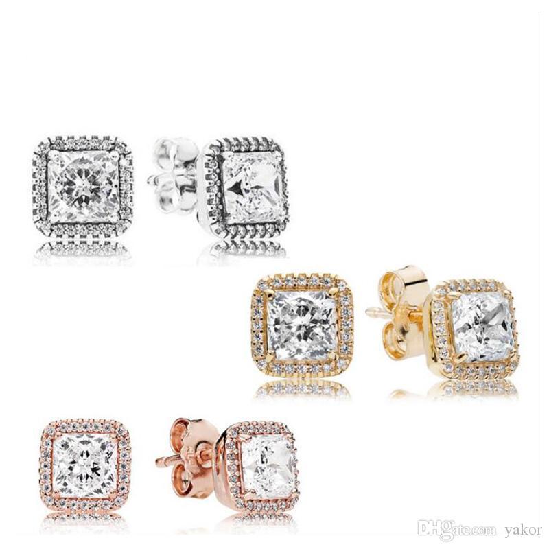스퀘어 CZ 다이아몬드 스톤 스터드 귀걸이 판도라 925 실버 18K 골드 로즈 골드 도금 결혼 귀걸이 여성을위한 설정
