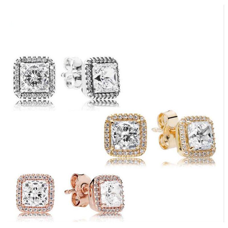 مربع تشيكوسلوفاكيا الماس حجر مربط القرط المربع الأصلي مجموعة ل باندورا 925 الفضة 18 كيلو الذهب روز الذهب مطلي أقراط الزفاف للنساء